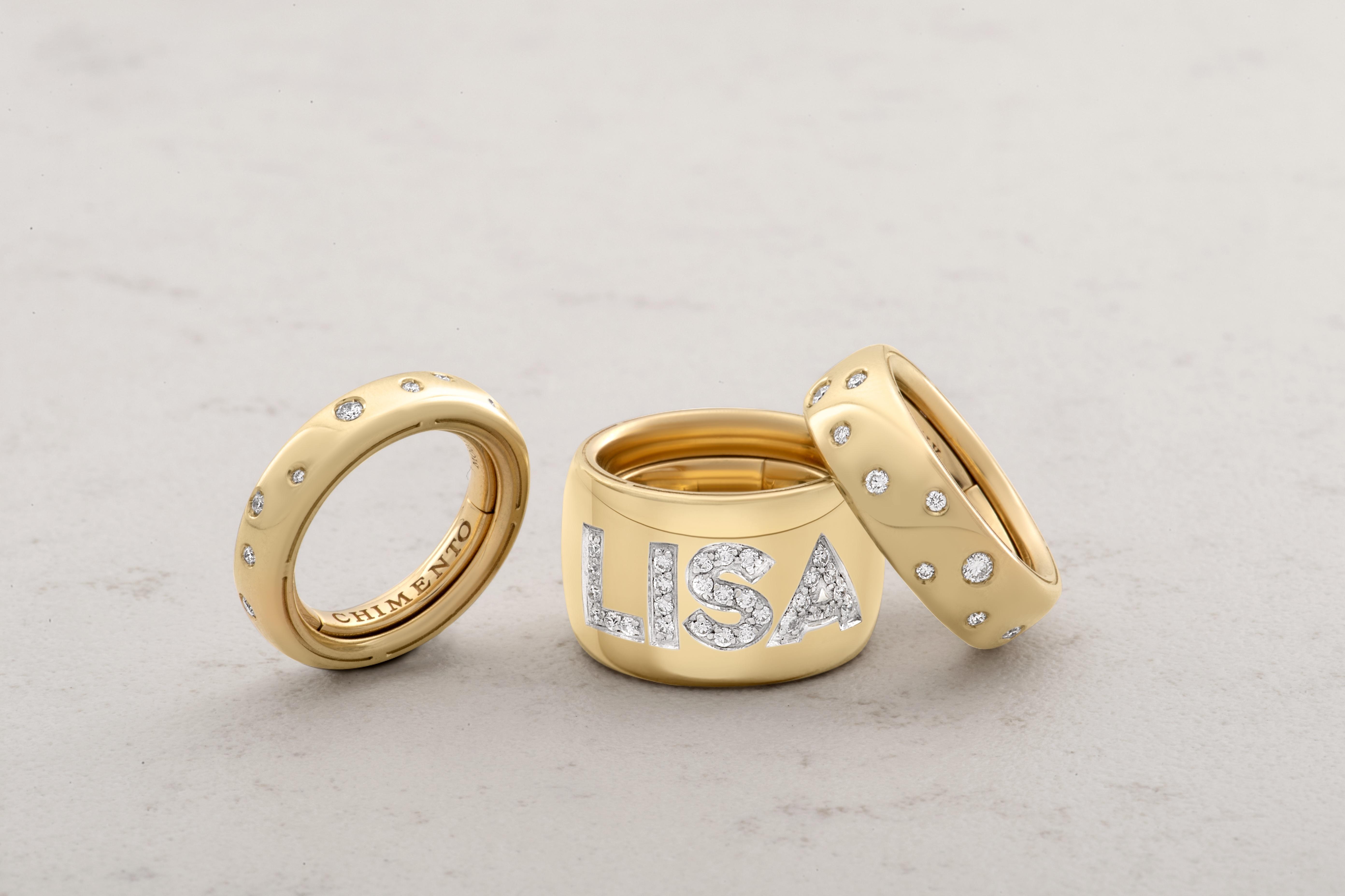 Anelli FOREVER Unico a fascia in oro e diamanti con nome